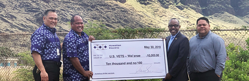 Hawaiian Electric grant to U.S.VETS will help improve quality of life for Waianae homeless
