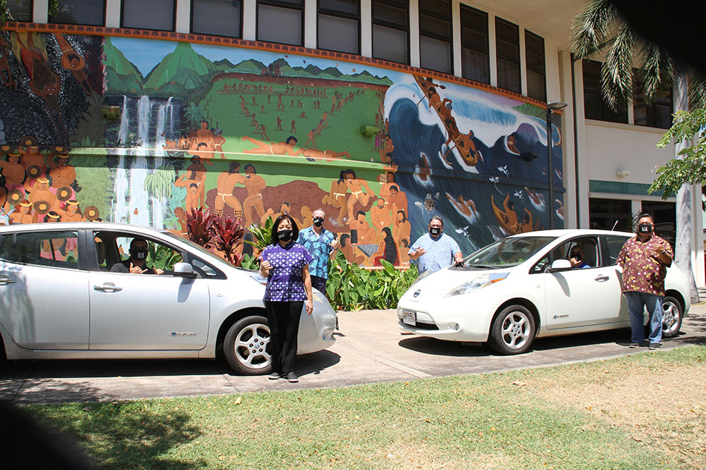 Two Nissan Leafs at UHMC